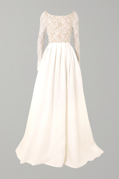 RIME ARODAKY AVERY CORDED LACE AND SILK-GAZAR GOWN