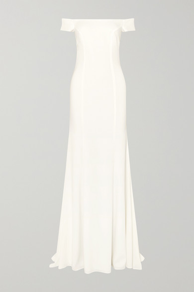 RIME ARODAKY LOUVRE OFF-THE-SHOULDER CREPE GOWN