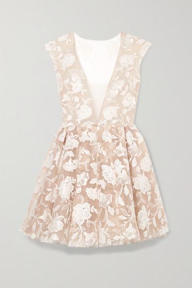 RIME ARODAKY Rory Embroidered Tulle Mini Dress in White