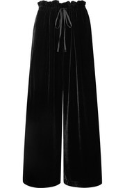Sara ruffled velvet wide-leg pants