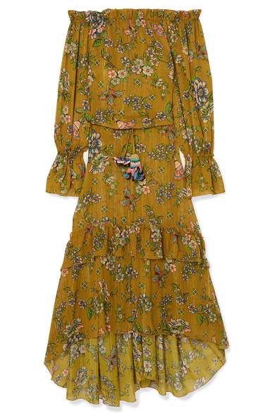 ANJUNA SOFIA OFF-THE-SHOULDER PRINTED METALLIC FIL COUPÉ GAUZE DRESS