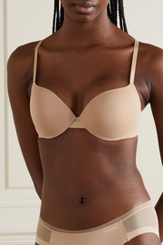 Calvin Klein Underwear Sculpted Demi Lightly Lined Plunge Push-Up stretch-jersey and mesh underwired bra