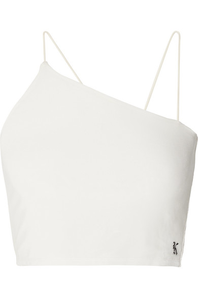 KITH VERONICA ASYMMETRIC CROPPED STRETCH-JERSEY TOP