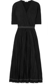 Wrap-effect plissé-chiffon midi dress