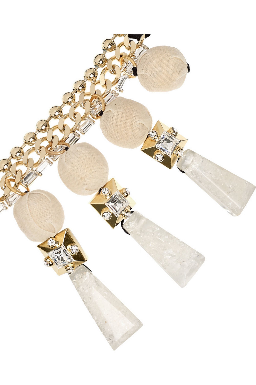 Marni Swarovski crystal and pyrite chain necklace