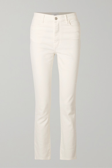 CASASOLA High-Rise Straight-Leg Jeans in White