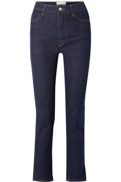CASASOLA Cropped High-Rise Straight-Leg Jeans in Dark Denim