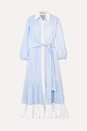 JW Anderson Tiered striped cotton-poplin midi dress