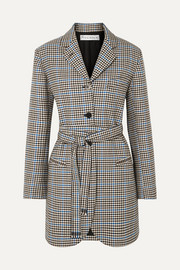 JW Anderson Belted houndstooth wool and cotton-blend blazer