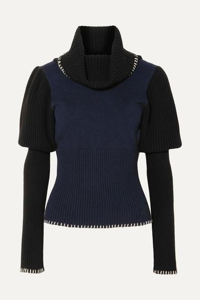 ddabbcf8ff3095 JW Anderson | Two-tone ribbed-knit turtleneck sweater | NET-A-PORTER.COM