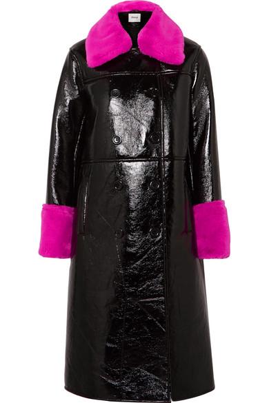 Bernadette Faux Fur-Trimmed Crinkled-Vinyl Coat, Black
