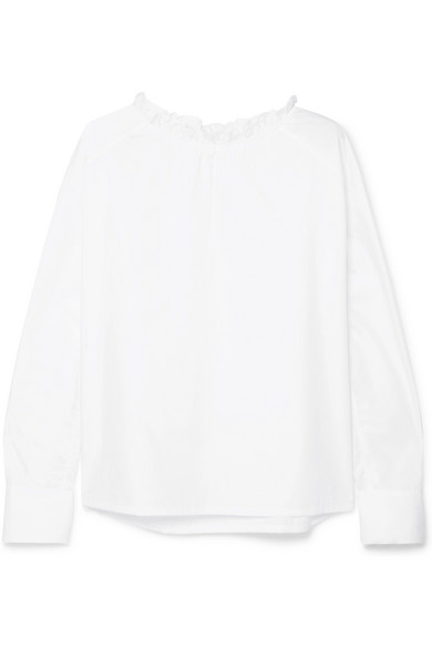 ATLANTIQUE ASCOLI GRAND RUFFLE-TRIMMED COTTON-POPLIN TOP