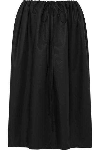 ATLANTIQUE ASCOLI Cottage Ruched Cotton-Poplin Skirt in Black