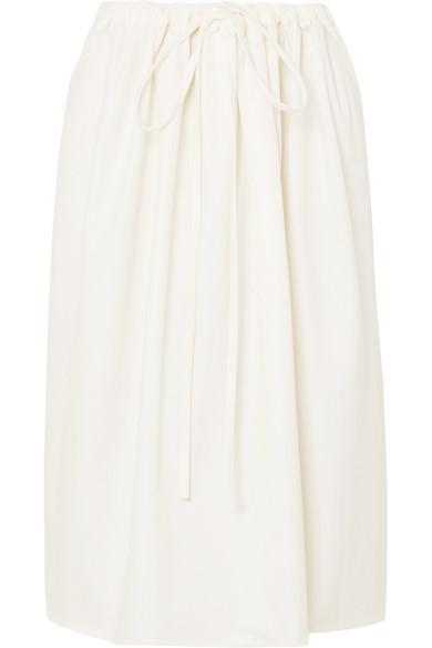 ATLANTIQUE ASCOLI Cottage Ruched Cotton-Poplin Skirt in Cream