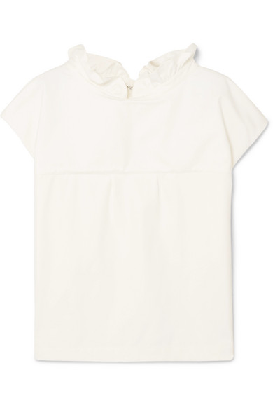 ATLANTIQUE ASCOLI VAREUSE RUFFLED COTTON-POPLIN TOP