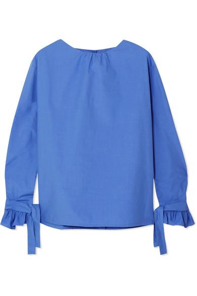 ATLANTIQUE ASCOLI Cordage Cotton-Poplin Blouse in Sky Blue