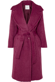 Belted alpaca and wool-blend coat