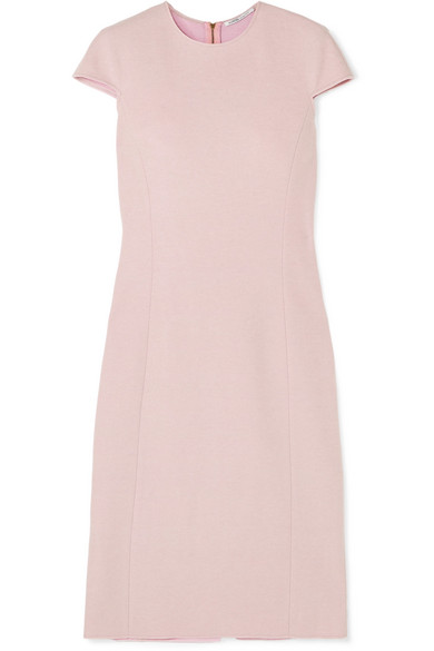 AGNONA Cap-Sleeve Fitted Cashmere Midi Dress in Pink