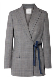 Leather-trimmed checked twill blazer