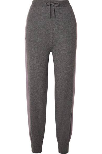 TWO-TONE CASHMERE TRACK PANTS