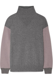 Agnona Two-tone cashmere turtleneck sweater