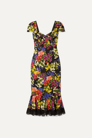 Dolce & Gabbana Lace-trimmed floral-print silk-blend crepe dress