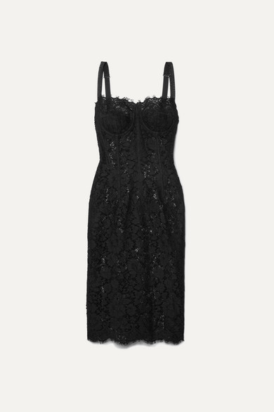 Satin Trimmed Corded Lace And Tulle Midi Dress by Dolce & Gabbana