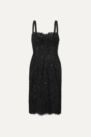 Dolce & Gabbana Satin-trimmed corded lace and tulle midi dress