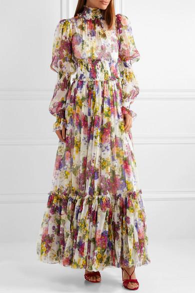 Dolce Amp Gabbana Smocked Floral Print Silk Chiffon Maxi