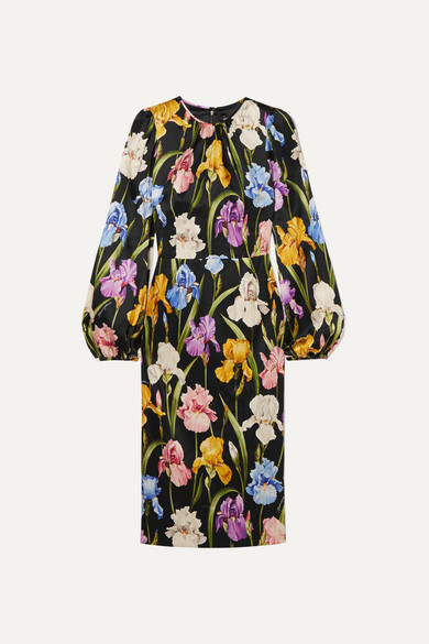 Floral Print Stretch Silk Satin Midi Dress by Dolce & Gabbana