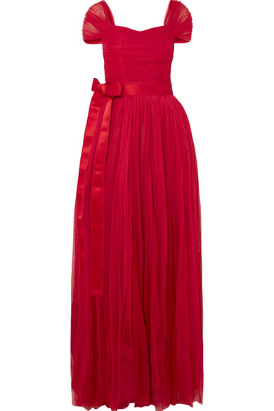 Dolce & Gabbana - Belted Silk-chiffon Gown - Red