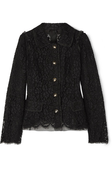 Dolce & Gabbana - Cotton-blend Guipure Lace Jacket - Black