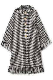Dolce & Gabbana Oversized fringed houndstooth wool-blend cape