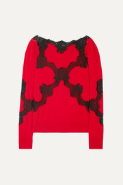 Lace-trimmed wool-blend sweater