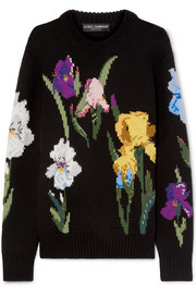 Dolce & Gabbana Embroidered floral-intarsia wool sweater