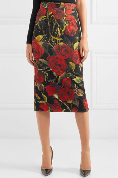 Floral Print Stretch Silk Pencil Skirt by Dolce & Gabbana