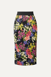 Dolce & Gabbana Printed silk-blend pencil skirt