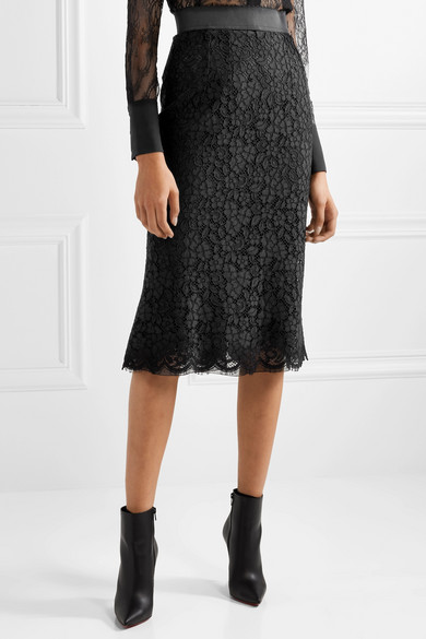 Cotton Blend Guipure Lace Midi Skirt by Dolce & Gabbana