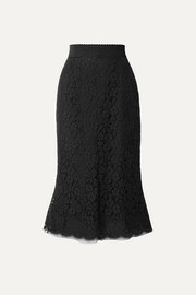 Dolce & Gabbana Cotton-blend guipure lace midi skirt