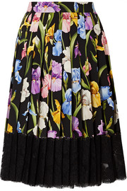 Dolce & Gabbana Lace-trimmed pleated floral-print silk-blend midi skirt