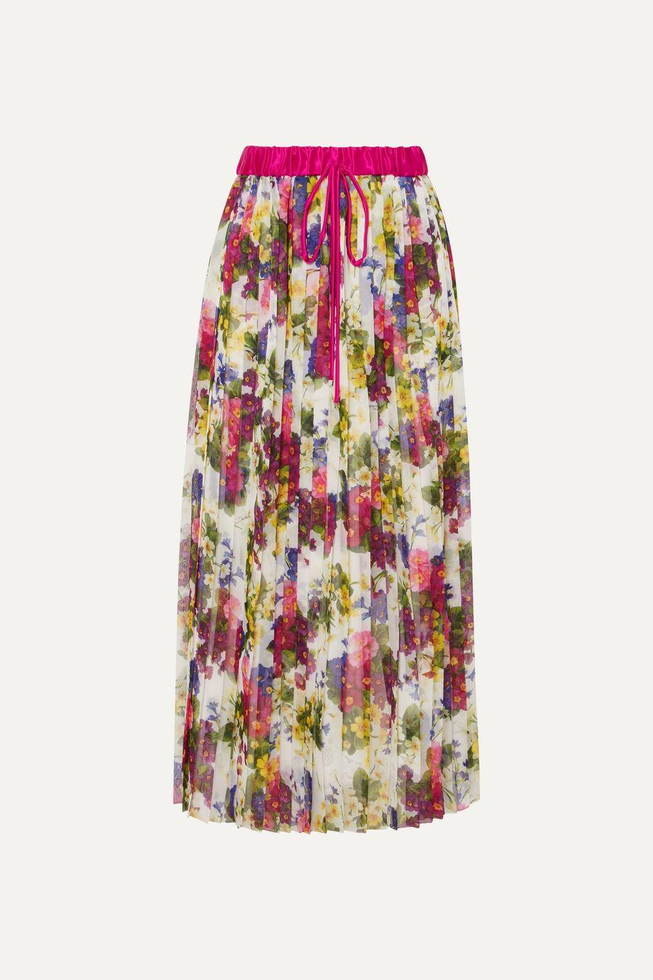 Dolce & Gabbana Pleated printed chiffon midi skirt