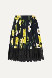 Dolce & Gabbana Lace-trimmed pleated floral-print crepe mini skirt