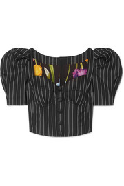 Pinstriped wool-blend bustier top