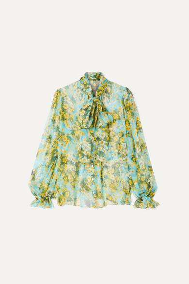 Dolce & Gabbana - Pussy-bow Floral-print Silk-chiffon Blouse - Blue