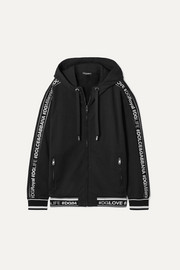 Dolce & Gabbana Hooded intarsia-trimmed cotton-jersey track jacket