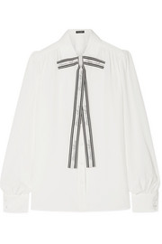 Dolce & Gabbana Printed pussy-bow silk crepe de chine blouse