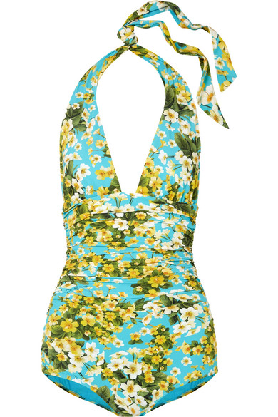 Dolce   Gabbana Ruched Floral-Print Halterneck Swimsuit In Light Blue 88cae67b1d5