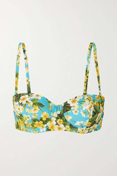 Dolce & Gabbana - Floral-print Underwired Bikini Top - Light blue