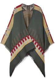 Fringed wool-blend jacquard cape