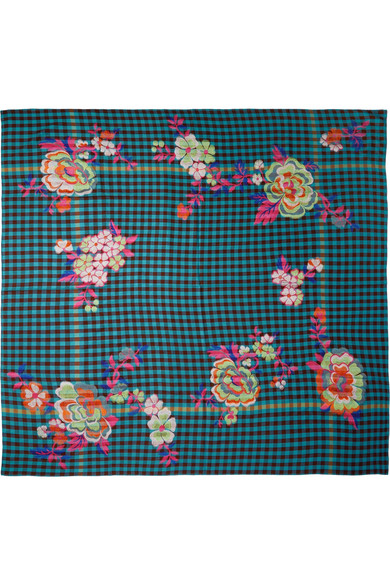 Etro - Embroidered Checked Wool-blend Scarf - Turquoise